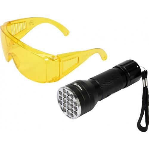 Фонарик ультрафиолетовый и очки для определения утечки фреона UV 21 LED VOREL 82756