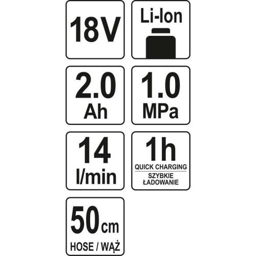 Аккумуляторный пистолет для подкачки колес 18 В, 1 Х 2,0 А-Ч YATO YT-82894