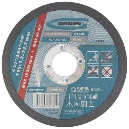 Круг отрезной по металлу, 115 х 1,0 х 22,2 мм // Gross