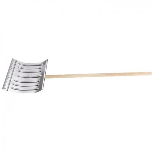 Лопата для уборки снега алюминиевая, 430 х 370 х 1350 мм, деревянный черенок, Сибртех 61582
