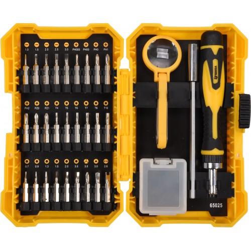 Отвертка реверсивная для точных работ: трещотка, набор насадок, торцевых головок 1/4 38ед. VOREL 65025