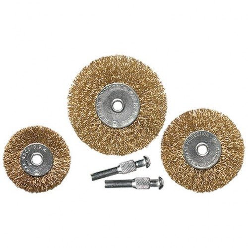 Набор щеток для дрели, 3 шт, 3 плоские, 50-63-75 мм, со шпильками, металлические Matrix