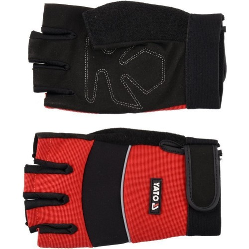 """Перчатки рабочие с открытыми пальцами кожа """"SPANDEX""""+ синтетика (размер 10 (XXL))  YATO YT-74662"""