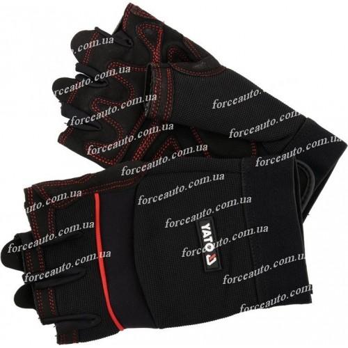 """Перчатки рабочие с открытыми пальцами кожа """"SPANDEX""""+ трикотаж размер 8 (L))  YATO YT-74658"""