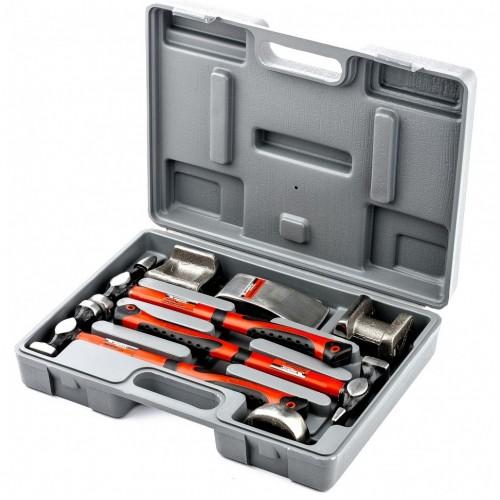 Набор рихтовочный, 3 молотка с фибергласовыми ручками, 4 наковальни, пластиковый бокс 10845 Matrix