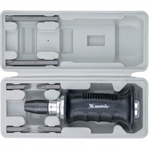 Отвертка ударно-поворотная 1/2, набор бит, 6 шт, черная ручка Профи, пластиковый бокс Matrix