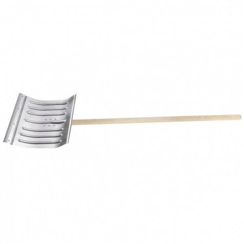 Лопата для уборки снега стальная оцинкованная, 430 х 370 х 1350 мм, деревянный черенок, Сибртех 61596