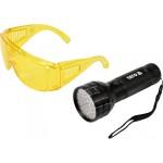 Ультрафиолетовый фонарь и очки для поиска утечек фреона