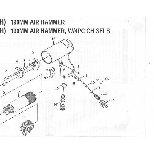Пневмомолоток 3 000 уд/мин с комплектом насадок 9 пр. SUMAKE ST-2212K/H