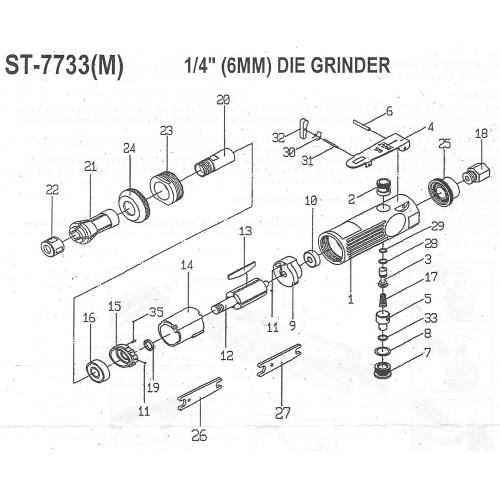 Бормашинка пневматическая с набором шарожек 6 мм, 22 000 об/мин SUMAKE ST-7733MK