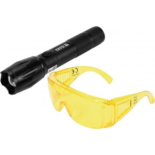 Набор для поиска утечек хладагента UV фонарь аккумуляторный  LI-ION + очки YT-08587